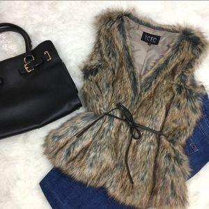 NWT Faux Fur Vest with Optional Vegan Leather Tie
